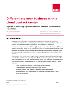 Ovum: Differentiate Your Business with a Cloud Contact Center