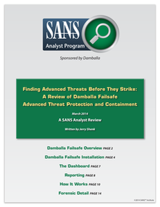 Finding Advanced Threats Before They Strike: A Review of Damballa Failsafe Threat Protection