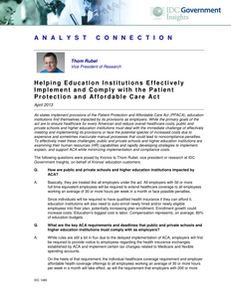 Helping Education Institutions Effectively Implement and Comply with the Patient and Affordable Care Act