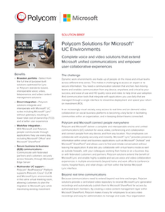 Polycom Solutions for Microsoft UC Environments