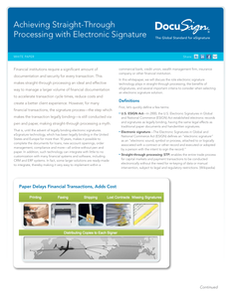 Achieving Straight-Through Processing with Electronic Signature