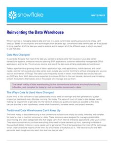 Reinventing the Data Warehouse