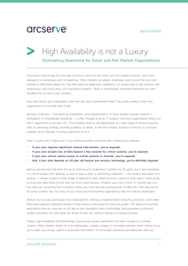 High Availability is Not a Luxury