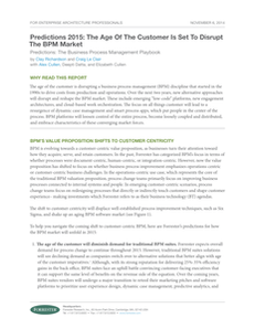 Forrester Research – Predictions 2015: Disruption of the BPM Market
