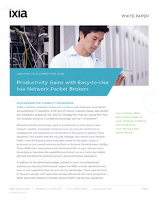 Productivity Gains with Easy-to-Use Ixia Network Packet Broker