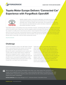 Toyota Motor Europe Delivers 'Connected Car' Experience with ForgeRock OpenAM