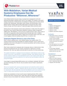 """With MobileIron, Varian Medical Systems Employees Can Be Productive """"Wherever, Whenever"""""""