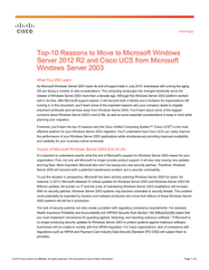 Top 10 Reasons to Switch to Cisco UCS when Migrating from Windows 2003