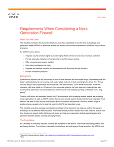 Requirements When Considering a Next- Generation Firewall