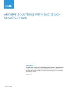 Archive Solutions with EMC Isilon Scale-Out NAS