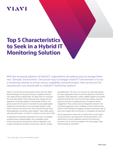 Top 5 Characteristics to Seek in a Hybrid IT Monitoring Solution