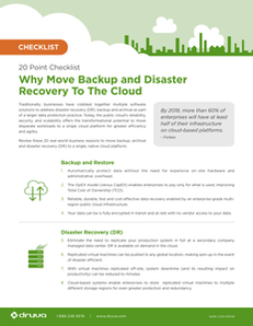 20 Point Checklist : Why Move Backup and Disaster Recovery To The Cloud