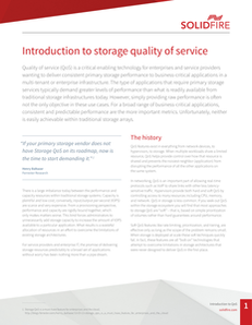 Introduction to storage quality of service
