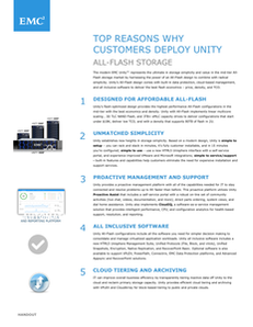 Top Reasons Why Customers Deploy Unity: All Flash Storage