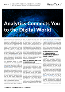Analytics Connects You to the Digital World