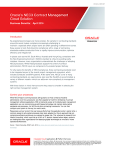 Oracle's NEC3 Contract Management Cloud Solution