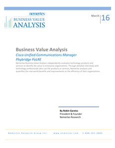 Business Value Analysis: Cisco Unified Communications Manager