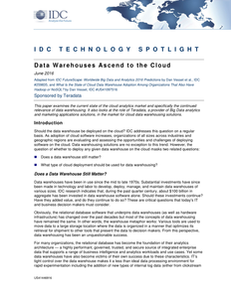 IDC Research Spotlight: Data Warehouses Ascend to the Cloud