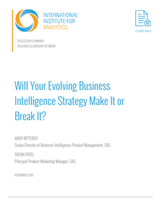IIA: Will Your Evolving Business Intelligence Strategy Make It or Break It?