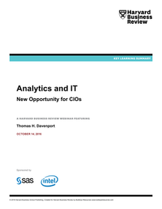 Harvard Business Review: Analytics and IT: New Opportunity for CIOs