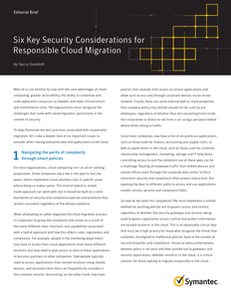 Six Key Security Considerations for Responsible Cloud Migration