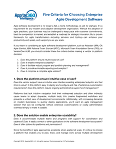 Five Criteria for Choosing Enterprise Agile Development Software