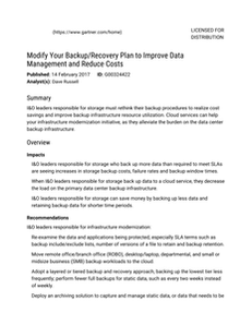 Gartner Report: Modify Your Backup or Recovery Plan to Improve Data Management and Reduce Costs