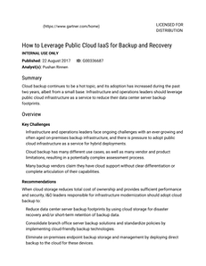 Gartner Report: How to Leverage Public Cloud IaaS for Backup and Recovery