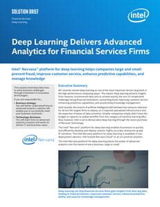 Deep Learning Delivers Advanced Analytics for Financial Services Firms Solution Brief