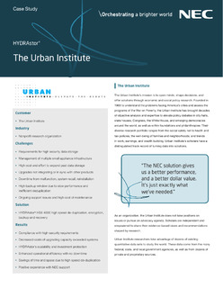 Urban Institute Case Study – How NEC's HYDRAstor HS8 4000 Provided a Better Technology Solution