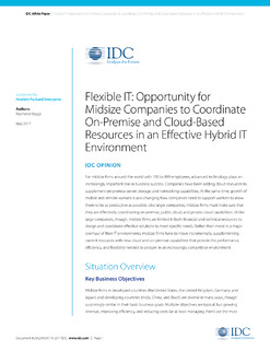 IDC Whitepaper: Opportunity for Midsize Companies to Coordinate On-Premise and Cloud-Based Resources