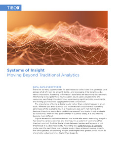 Systems of Insight – Moving Beyond Traditional Analytics
