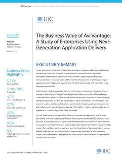 The Business Value of Avi Vantage: A Study of Enterprises Using Next-Generation Application Delivery
