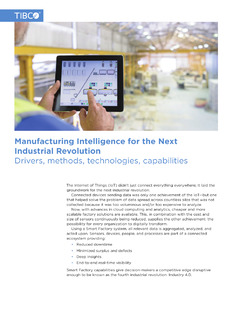 Manufacturing Intelligence for the Next Industrial Revolution