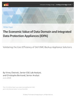 The Economic Value of Data Domain and Integrated Data Protection Appliances (IDPA)