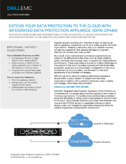 Extend Your Data Protection to the Cloud with Integrated Data Protection Appliance (IDPA) DP4400
