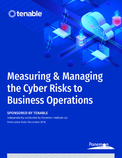 Measuring and Managing the Cyber Risks to Business Operations