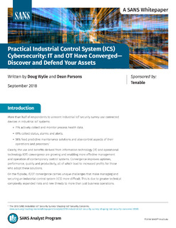 SANS Whitepaper: Practical Industrial Control System (ICS) Cybersecurity: IT and OT Have Converged