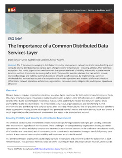 ESG Brief The Importance of a Common Distributed Data Services Layer