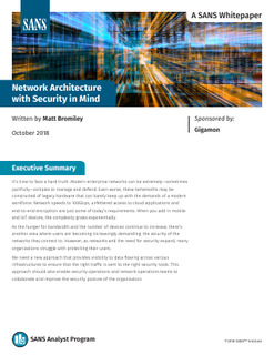 SANS Whitepaper: Network Architecture with Security in Mind