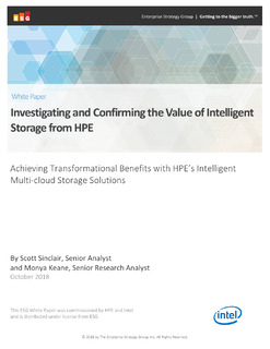 ESG White Paper: Investigating and Confirming the Value of Intelligent Storage from HPE