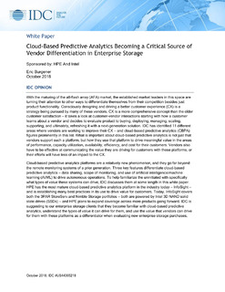IDC's Cloud-based Predictive Analytics: Critical Source of Vendor Differentiation for Enterprises