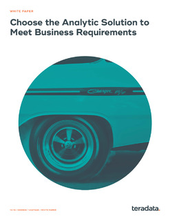 Choosing the Right Analytic Solution to Meet Business Requirements