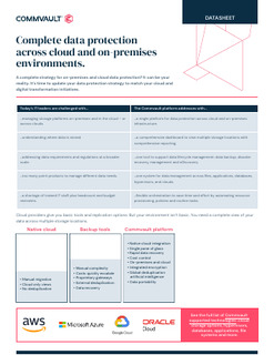Complete data protection across cloud and on-premises environments.
