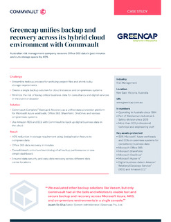 Greencap unifies backup and recovery across its hybrid cloud environment with Commvault