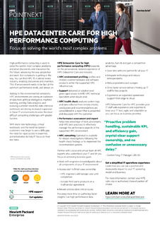 HPE Datacenter Care for High Performance Computing