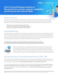 Citrix Virtual Desktops hosted on Microsoft Azure drives superior scalability performance and reduc