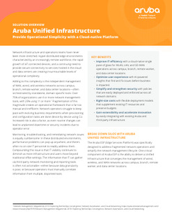 Solution Overview: Aruba & Unified Infrastructure