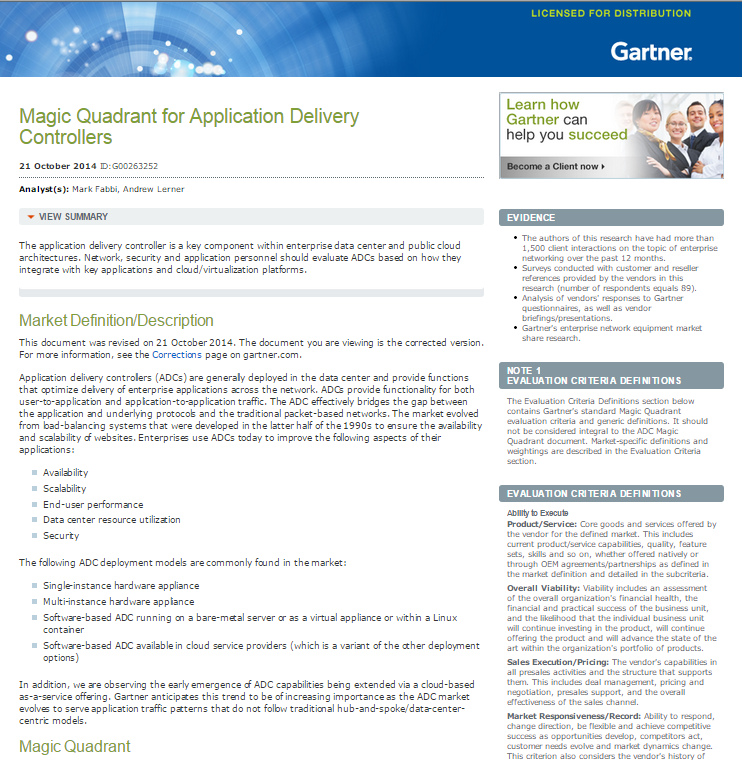 Gartner 2014 Magic Quadrant for Application Delivery Controllers
