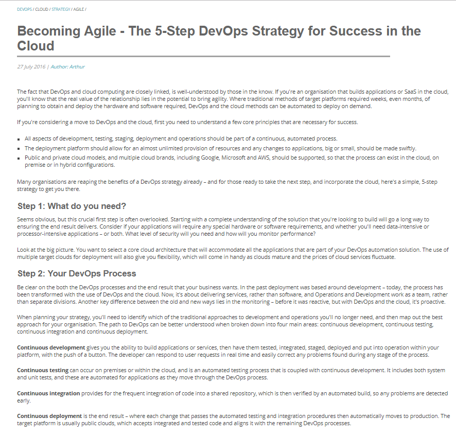 Becoming Agile – The 5-Step DevOps Strategy for Success in the Cloud